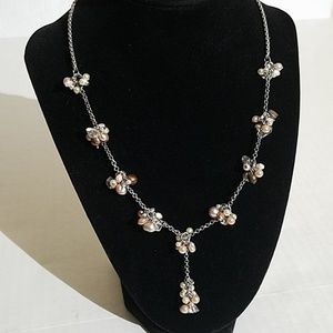 Coldwater creek silver tone Pearl clusters 1p3